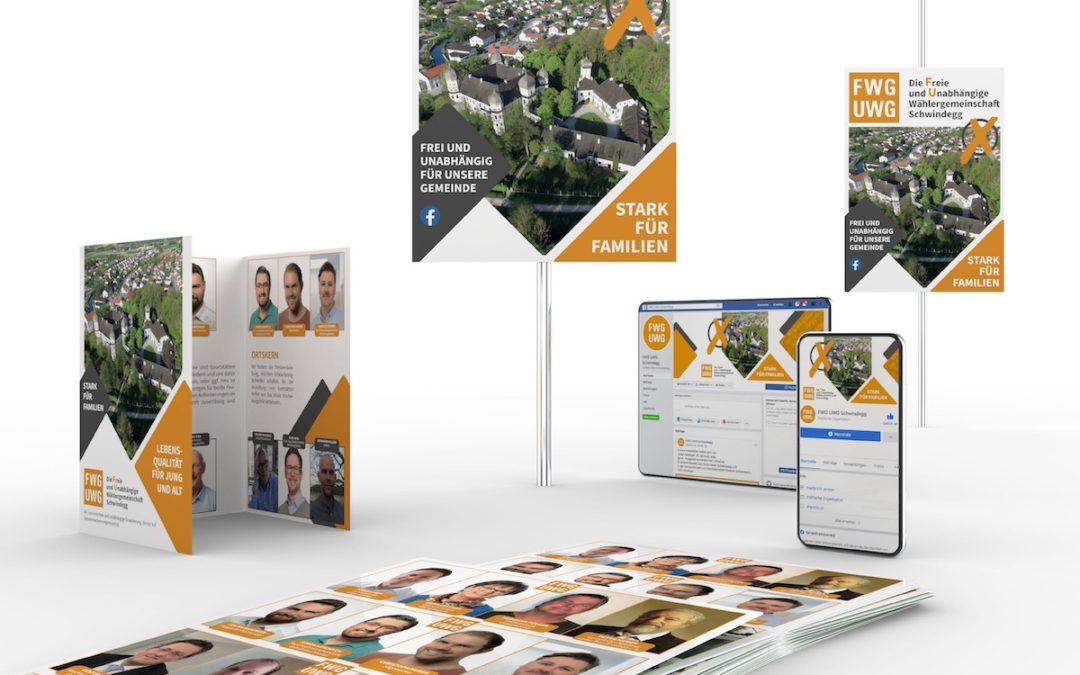 Flyer, Wahlplakate und Facebook-Fanpage für den Wahlkampf der FWG/UWG Schwindegg
