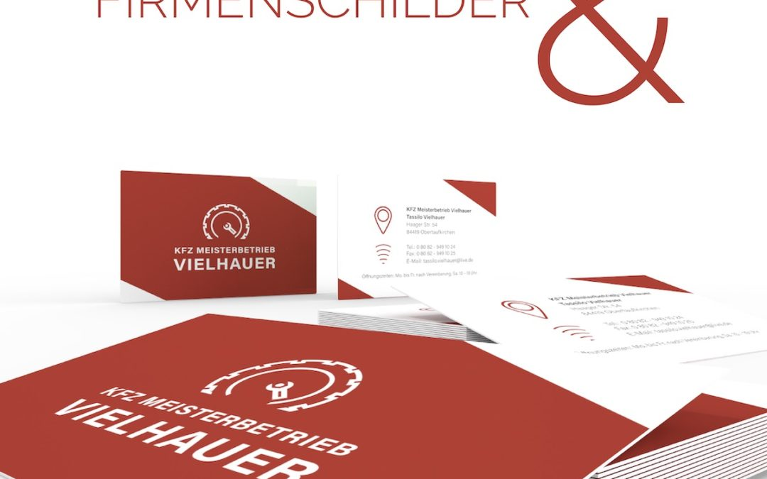 Logo, Firmenschild, Fahrzeugbeschriftung und Visitenkarten für Tassilo Vielhauers KFZ-Meisterbetrieb