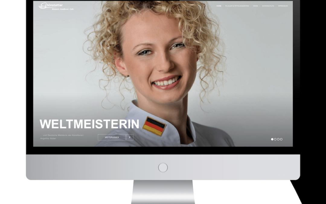 Neue Website für die WELTMEISTERIN Angelika Huber (Bäckerei – Konditorei Schönstetter GmbH)